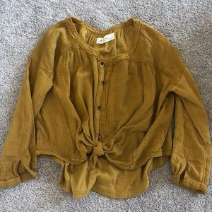 NEW Gold Free People Button Down Top XS